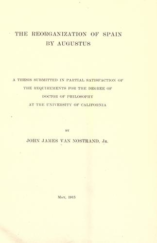 Download The reorganization of Spain by Augustus