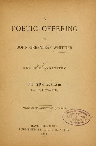 Download A poetic offering to John Greenleaf Whittier