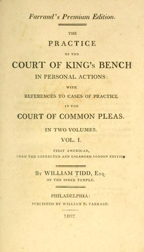 Download The practice of the Court of King's Bench in personal actions