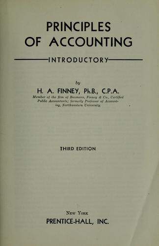 Principles of accounting, introductory.