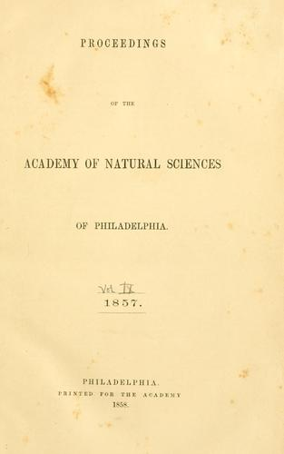 Proceedings of the Academy of Natural Sciences of Philadelphia, Volume 9