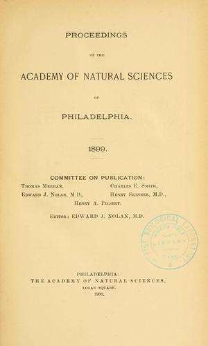 Proceedings of the Academy of Natural Sciences of Philadelphia, Volume 51