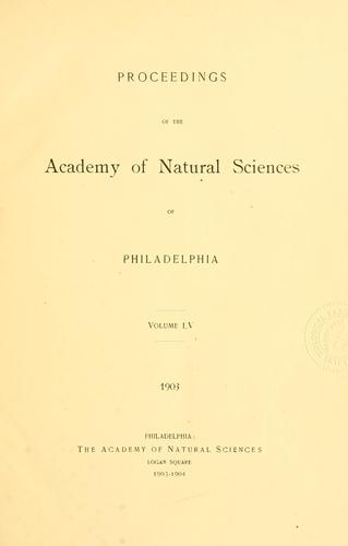 Proceedings of the Academy of Natural Sciences of Philadelphia, Volume 55
