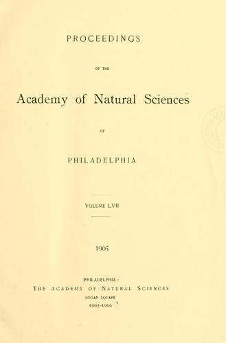 Download Proceedings of the Academy of Natural Sciences of Philadelphia, Volume 57