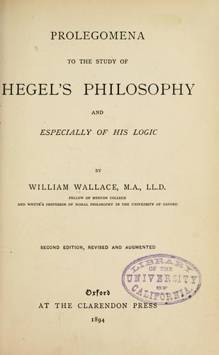 Download Prolegomena to the study of Hegel's philosophy and especially of his logic