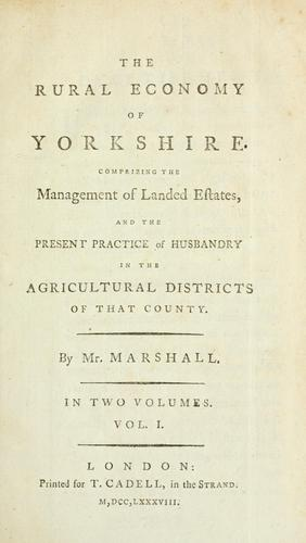 Download The rural economy of Yorkshire