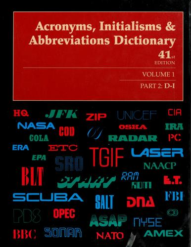 Acronyms, initialisms & abbreviations dictionary by Linda Hall
