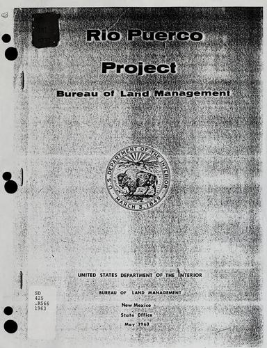 Rio Puerco Project : [New Mexico by United States. Bureau of Land Management.