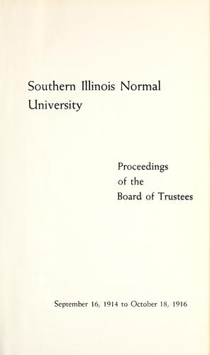 Proceedings of the Board of Trustees by Southern Illinois State Normal University