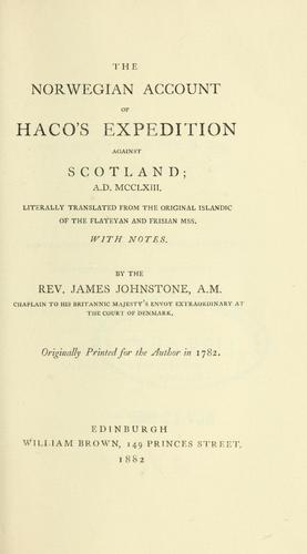 The Norwegian account of Haco's expedition against Scotland, a.d. MCCLXIII by Sturla Þórðarson