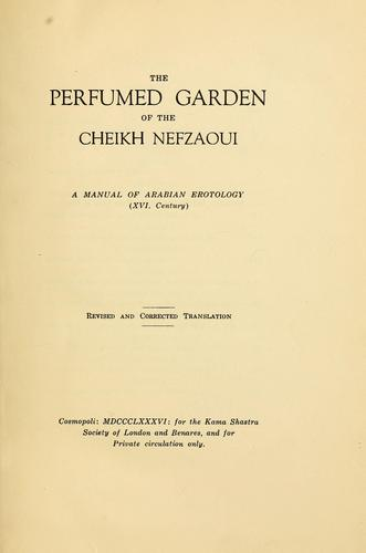 The perfumed garden of the Cheikh Nefzaoui by Umar ibn Muhammad Nafzawi