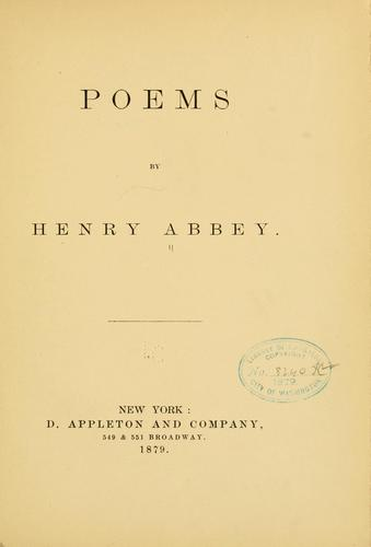 Poems by Henry Abbey