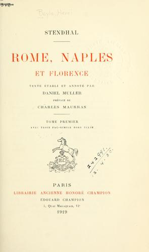 Rome, Naples et Florence [par] Stendhal by Stendhal